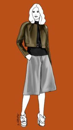 Eine kniebedeckende Culotte, die aussieht wie ein A-Linien-Rock, steht vielen Frauen - dieser Lagenlook ist besonders gut für den A-Figurtyp und die Frau mit X-Figur, aber auch für große Frauen geeignet.