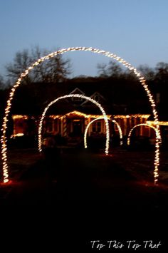 Strings of lights wrapped around PVC arches.