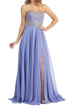 Lavender prom gown.