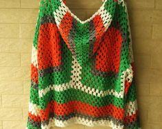 Granny Square Sweater Vest Crochet Cardigan Tie Front