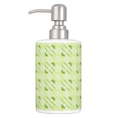 baroque style lime pattern. soap dispenser & toothbrush holder - patterns pattern special unique design gift idea diy
