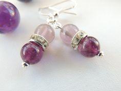 Rainbow Flourite Stone Earrings Purple Stone by pnljewelrydesigns, $16.00