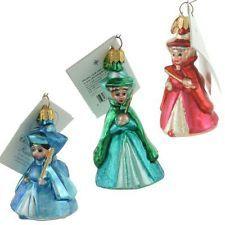 Christopher Radko Rare Flora, Fauna & Merryweather Disney Christmas Ornament 3pc