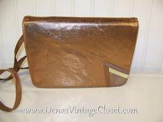 Vintage 80s Italian Leather Metallic Copper Casadei Clutch Shoulder Bag Purse