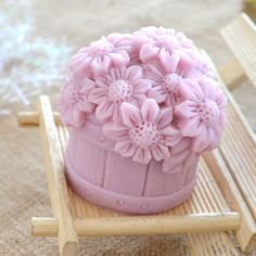 3D Flower In Bucket Candle Mold Soap Mold Mould by soapmoldiy