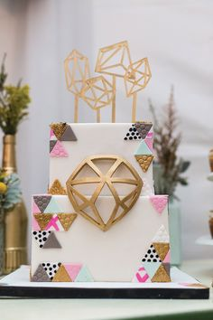 This geometric wedding cake is everything.
