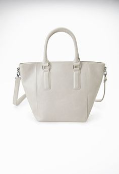 Zipper-Trim Faux Leather Tote | Forever 21 - 1000055975