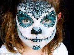 A very pretty day of the dead face of make-up. Carefully apply our face paints to create something similarly beautiful on your child.