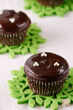 Chocolate Mint Filled Cupcakes - for St. Patrick's Day.