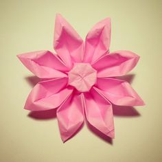 February 25th 2015 Origami gerbera flower I made today.  #origami #paper #folding #gerbera #flower #diy #pink #craft #56