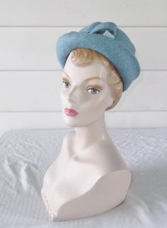 1960s Vintage Mod Blue Wool Hat with Bow by MyVintageHatShop
