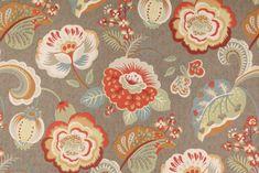 Richloom Fabric Danbury Chocolate Brown Aqua Gold  Cotton  Drapery Upholstery