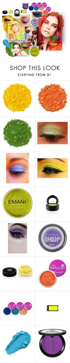 """""""neon eyes"""" by caroline-buster-brown ❤ liked on Polyvore featuring beauty, Illamasqua, Emani, MAC Cosmetics, Concrete Minerals, Maybelline, Givenchy, Sephora Collection, WALL and neonbeauty"""