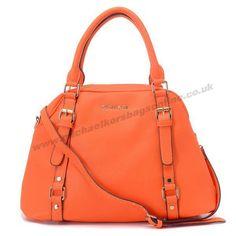 Michael Kors Pebbled Leather Shoulder Bag Orange