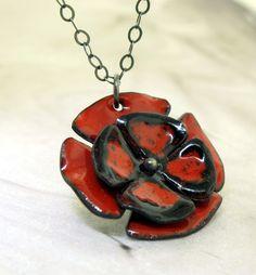 Poppy Flower Necklace   glass enameled copper by KathrynRiechert, $58.00
