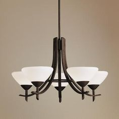 "Olympia Distressed Black 27"" Wide 5-Light Chandelier