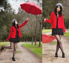 Jacket, Leopard Print Woolly Hat, Dotty Dress, Stockings, Shoes