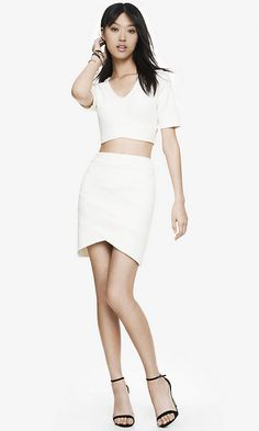 Express- Cropped Cut Out Top and High Waist Bandaged MIni Skirt