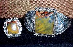 Old Pawn NAVAJO Harvey Era Sterling Petrified Wood Cuff Bracelet & Ring Set