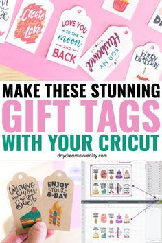 Today you are going to learn how to make the most beautiful gift tags with your Cricut (Maker or Explore).By the way, not only will I be showing you how to make Gift Tags from Cricut Design Space, but Cricut Tags, Cricut Help, Cricut Vinyl, Good Tutorials, Cricut Tutorials, Cricut Ideas, Birthday Tags, Cricut Craft Room, Maker