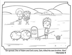kids coloring page from whats in the biblefeaturing cain and abel from genesis 4