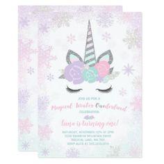 Unicorn Birthday Invitation Winter Unicorn Party - invitations personalize custom special event invitation idea style party card cards