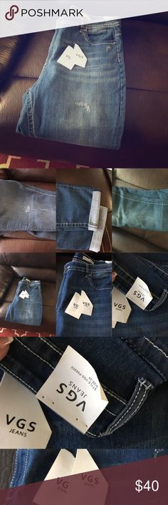 Brand new never worn with tags vigoss plus size Brand-new. Never worn. Tags still on in perfect condition. Plus size stretchy skinny jeans size 24 with a 30 inch inseam. Darker wash light distressing double decorative pockets higher mid rise. Vigoss Jeans Skinny