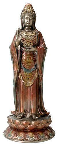"Large Nanhai Kwan Yin Statue Sculpture Figure 16"" Tall - WE SHIP WORLDWIDE фото"