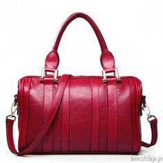 479902f4ea34b Nucelle Leather Shopper Bowling Style Satchel Handbag Tote Bag W shoulder  Strap Red