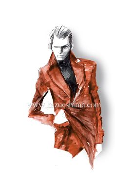 """Men's Fashion illustration by Kazue Shima. Men's leather coat. (Material: water color, pencil, photoshop) #mensfashion #fashionillustration #menswear #mensstyle """"suits #illustration #menssuits"""