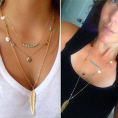 Multi layered turquoise leaf necklace GOLD OR SILVER