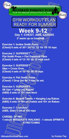 3 GYM WORKOUT PLAN READY FOR SUMMER MEN DAY 1 CHEST ABS CARDIO » UltimateWorkoutPlans.com