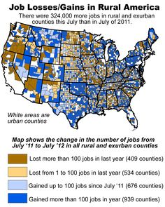 The rural job market appears to be rebounding since last year. County Map, Marketing Jobs, Rebounding, Community, America, Urban, Image, Usa