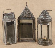 Three early American tin lanterns, 19th c.