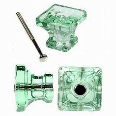4 Pcs T83M Depression Green Square Glass Cabinet Knobs For Kitchen, Drawer  Or Dresser Pulls