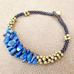 Nugget Lapis Lazuli Stone Macrame Bracelet with by Summerwrist, $8.00