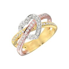 Image of Gabriel & Co. - Gold Heart Diamond Ring