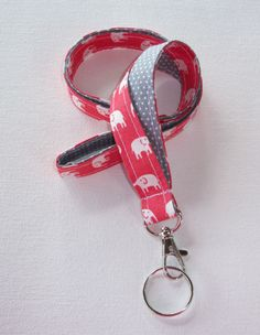 Elephant Lanyard  ID Badge Holder  Coral pink and white preppy / fabric / cute / patterns / key chain / office, nurse, student id, badge / key leash / gifts / key ring / id badge holder / badge holder / teachers gifts / teacher / coworkers / sports lanyard