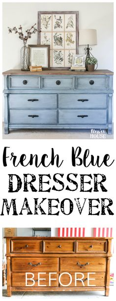 French Blue Dresser Makeover An orange wood thrifted dresser gets a French blue makeover using Fusion Mineral Paint in Champness and Homestead House Wax in Espresso Blue Dresser, Painted Bedroom Furniture, Furniture Diy, Retro Furniture, Guest Bedroom Makeover, Furniture Decor, Furniture Makeover Diy, Diy Furniture, Dresser Makeover