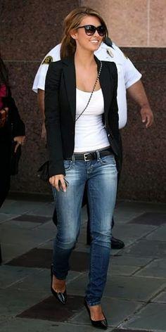 Celebrity in blazer, heel and jeans | Fashion World