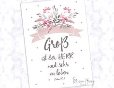 """Postcard """"Gross is the Lord"""" - karten - Bibel Journal, Pink Highlights, Health Insurance Plans, Fun Events, Praise God, Print Pictures, Pin Collection, Hand Lettering, Bible Verses"""