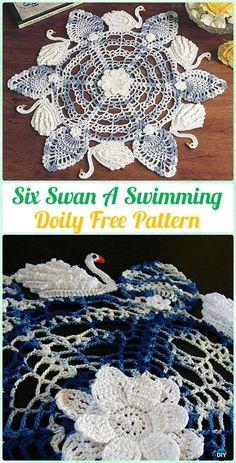 Crochet Six Swan A Swimming Doily Free Pattern - Crochet Doily Free Patterns