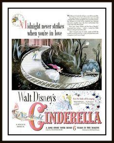 1950 Vintage Advert for Disney's 'Cinderella' for Life magazine