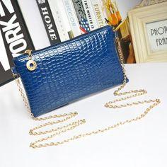Messenger Shoulder Golden Chain Strap Fashion Crossbody Clutch PU Leather Blue Woman Bag Handbag