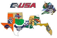 Conference USA 2013 map Conference Usa, Team Mascots, Great Logos, Cheerleading, Team Logo, Sports Logos, Fun, Cheer, Funny