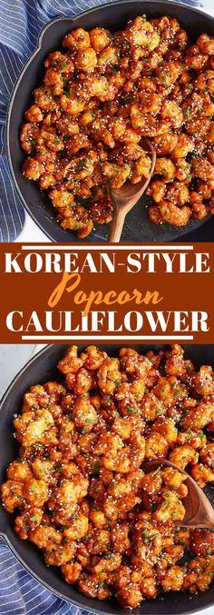 Korean-Style Popcorn Cauliflower - Vegetarian and Vegan Recipes - Instapot Vegetarian Recipes, Vegetarian Sweet Potato Recipes, Low Calorie Vegetarian Recipes, Vegetarian Recipes For Beginners, Autumn Recipes Vegetarian, Healthy Recipes, Vegetarian Appetizers, Vegetarian Korean Food, Autumn Food Recipes