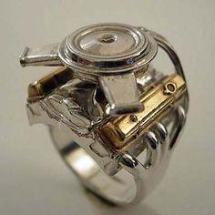 mini replica chevy engine ring - Tire Wedding Rings