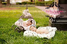 Newborn boy and girl twins.  Cinderella and Prince Charming. Outdoor newborn session.  www.TheAthensNewbornPhotographer.com