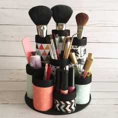 Turn Toilet Paper Rolls into a Makeup Organizer Get the instructions here. Bathroom organization just got a lot easier: Cut and combined a few empty toilet paper rolls to create a handy makeup brush organizer
