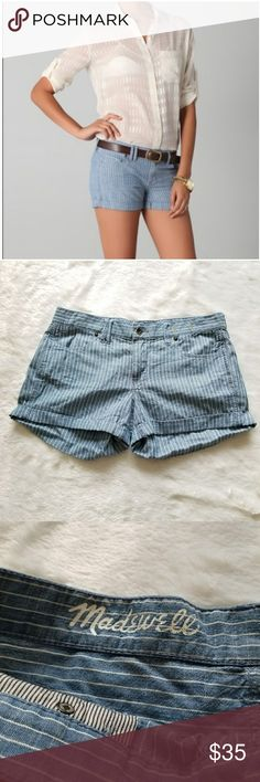 """Madewell Ticking Striped Shorts!! 4 pocket style single button closure striped chambray shorts by Madewell. Size 27. Pre-loved and in great condition. Signs of normal wear, including some loosening in the cuffed hem. 32"""" waist, 10-11"""" long, 8"""" rise and 3"""" inseam. Comes from a smoke-free pet-free home. Fast shipping! NO TRADES! Madewell Shorts"""